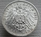 """Вюртемберг 3 марки 1911 г., """"Серебряная свадьба Вильгельма и Шарлотты"""", фото №13"""