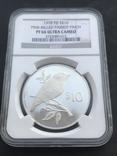 10 долларов 1978 Фиджи  серебро в слабе PF66 Ultra Cameo, фото №2