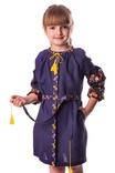 Сукня для дівчинки Яскраві півники (льон синій), фото №2