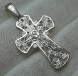 Новый Серебряный Крест Крестик Распятие Узор Ажурный 925 проба Серебро 447 фото 1