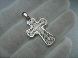 Новый Серебряный Крест Крестик Распятие Узор Ажурный 925 проба Серебро 447 фото 2