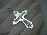Новый Серебряный Крест Крестик Распятие Купола Святой Дух Голубь 925 проба Серебро 313 фото 2