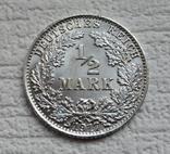 1/2 марки 1917 г. (А) Германия, серебро, фото №2