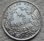 1/2 марки 1917 г. (А) Германия, серебро, фото №6