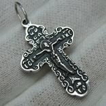 Новый Серебряный Крест Крестик Распятие Господи спаси и сохрани 925 проба Серебро 450