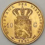 10 гульденов. 1897. Королева Вильгельмина. Нидерланды (золото 900, вес 6,66 г), фото №3
