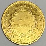 20 франков. 1809. Вестфалия. Германия (золото 900, вес 6,38 г), фото №3