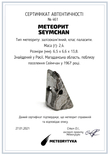Заготовка-вставка з метеорита Seymchan, 2,4 г, із сертифікатом автентичності, фото №3