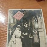 Свадебная, жених военный награды с невестой в церкви, 1906, Франция, фото №7