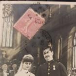 Свадебная, жених военный награды с невестой в церкви, 1906, Франция, фото №11