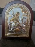"""Икона в серебре """"Георгий Победоносец побеждающий Змия"""" Греция, фото №3"""