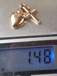 Кулон крест и пылающее сердце, золото 0.750, фото №8