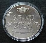 Монета Ковид 2020. Сувенирная монета I Survived (silver) копия, фото №2