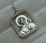 Серебряный Кулон Подвеска Образок Ладанка Богородица Иисус Христос Серебро 925 проба 747