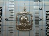 Серебряный Кулон Подвеска Образок Ладанка Богородица Иисус Христос Серебро 925 проба 747 фото 3