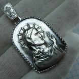 Серебряный Кулон Образок Иисус Христос Господь Благословляющий Нимб Крест 925 проба 792, фото №2