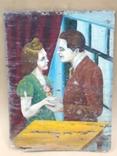 Свидание. Старинная картина 1920х., фото №3
