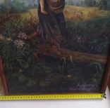 """Картина """"Дети, бегущие от грозы"""". Копия 1968 года с подписью автора., фото №4"""