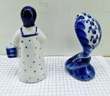 Статуэтки Девушка с корзиной и Кобра, Гжель. Клеймо, фото №4