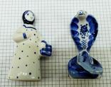 Статуэтки Девушка с корзиной и Кобра, Гжель. Клеймо, фото №7