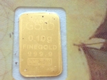 Слиток золота 999.9 0,1 гр. Лот №106
