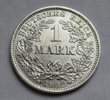 1 марка 1909 г. (D), Германия, серебро, фото №3