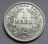 1 марка 1909 г. (D), Германия, серебро, фото №6