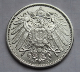 1 марка 1909 г. (D), Германия, серебро, фото №8