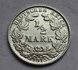 1/2 марки 1915 г. (Е) Германия, серебро, фото №3