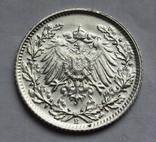 1/2 марки 1915 г. (Е) Германия, серебро, фото №5
