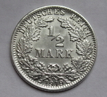 1/2 марки 1919 г. (J) Германия, серебро, фото №3