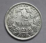 1/2 марки 1919 г. (J) Германия, серебро, фото №6