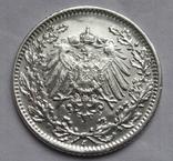 1/2 марки 1919 г. (J) Германия, серебро, фото №9