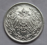 1/2 марки 1919 г. (J) Германия, серебро, фото №11