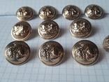 Комплект металлических пуговиц с фрака герб корона. Франция. 10 + 1 шт., фото №3