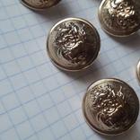 Комплект металлических пуговиц с фрака герб корона. Франция. 10 + 1 шт., фото №5