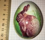 Шкатулка жестяная, пасхальное яйцо, зайчик (кролик), фото №3