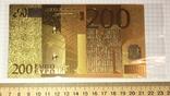 Позолоченная сувенирная банкнота 200 Euro (24K) в защитном файле / сувенірна банкнота, фото №3