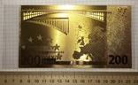 Позолоченная сувенирная банкнота 200 Euro (24K) в защитном файле / сувенірна банкнота, фото №4