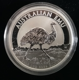 Австралия 1 доллар 2018 г. Эму серебро 1 унция 999 пробы, фото №2