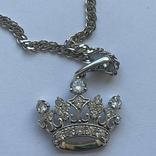 Серебряная цепочка с золотой короной, фото №4