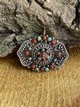 Старый серебряный кулон с бирюзой , кораллом и элементами зерни, фото №4