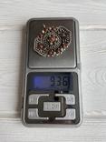 Старый серебряный кулон с бирюзой , кораллом и элементами зерни, фото №8