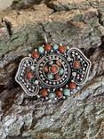 Старый серебряный кулон с бирюзой , кораллом и элементами зерни, фото №10