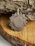 Винтажный серебряный массивный кулон со вставкой бирюзы, фото №6