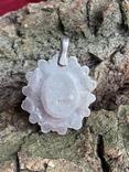 Винтажный серебряный массивный кулон со вставкой бирюзы, фото №12