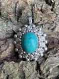 Винтажный серебряный массивный кулон со вставкой бирюзы, фото №13