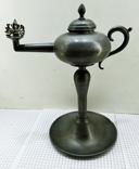 Старинная Масляная лампа Германия, олово, с фигуркой Ганеша, фото №2