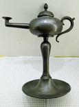 Старинная Масляная лампа Германия, олово, с фигуркой Ганеша, фото №7