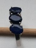 Кольцо серебро 925 с сапфирами, фото №3